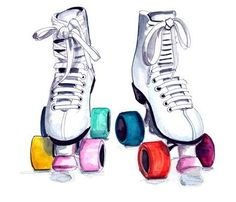 Illustration by Tracy. Quad Roller Skates, Roller Derby, Roller Skating, Paper Journal, Skate Tattoo, Skate Party, Derby Skates, Figure Skating, Things That Bounce