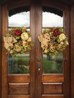 This is a real beauty for all seasons! This listing is for TWO double door wreaths! The base is burgundy mesh ruffled with olive green, burlap scraps, and wired burlap bows are accented for those simple but special touches. A burgundy, sage and creme hydrangea peak your interest, please note, I can change the hydrangea colors if need be. Berry leaves complete this beautiful look. This wreath measures approximately 24 inches wide and 9 inches deep! All of my wreaths are sprayed with acrylic…