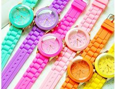 on+sale~Fluorescent+candy+watches color:black;yellow;red;purple;pink;white;green Diameter:3.8+cm Thickness:0.7+cm Belt+width:2.0+cm Belt+length:22+cm 26033204188