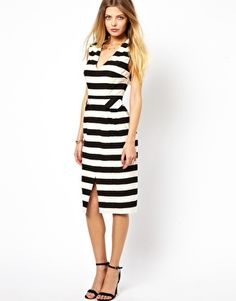 Image 1 of ASOS Pencil Dress In Stripe With Deep V