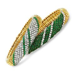 A Pair of Emerald and Diamond 'Couscous' Bracelets, by Van Cleef & Arpels, circa 1960 Emerald Diamond, Diamond Bracelets, Beaded Bracelets, Emerald Jewelry, Diamond Jewelry, Candy Jewelry, Jewelry Design, Designer Jewellery, Jewelry Ideas