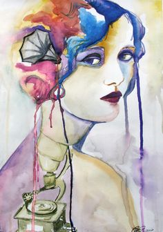 """""""Grammophone""""  8x12"""" Watercolor  by: Christina Leta Smith #defectivebarbie #watercolor #art #painting #modern #portrait #dripping #colorful"""