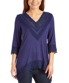 Love this Navy Lace Quarter-Sleeve V-Neck Top on #zulily! #zulilyfinds