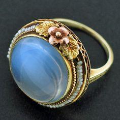 A Brandt and Son - Art Nouveau 14kt Pearl & Large Cabochon Moonstone Ring -- so pretty & unique.