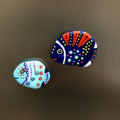 Fish magnets by GK #magnet #stone #stoneart #fish #taşboyama #stonepainting #paintedstones