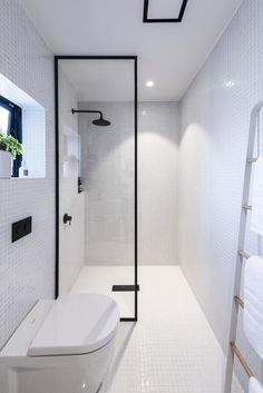 Black Framed Shower Screen White Bathroom With Black Tapware Small Bathroom Renovations Wet Room Set Up Diy Bathroom Remodel, Bathroom Renos, Bathroom Renovations, Bathroom Ideas, Washroom, Minimalist Bathroom, Modern Bathroom, Small Bathroom, White Bathroom