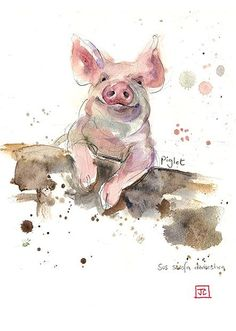 Piglet - Bug Art greeting card watecolour-animal-art i love this!! repinned by bluejdesign.co.uk