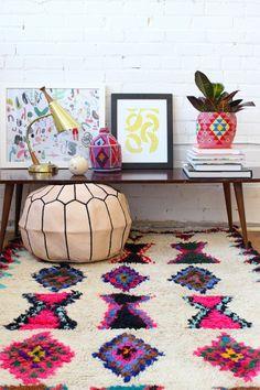Déco Salon – tapis berbere kilim pas cher coloré pour le salon ...
