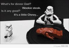 """Wookie steak - Funny LEGO Star Wars joke with Stormtrooper kid asking his dad: """"What's for dinner dad? - It's a little Chewy. Star Wars Witze, Star Wars Jokes, Lego Star Wars, Star Puns, Funny Star Wars Pictures, Funny Photos, Lego Pictures, Daily Pictures, Word Pictures"""