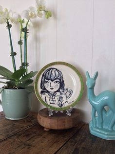 Wall hangpainted plate up-cycled vintage plate by ArtistCarlaRose