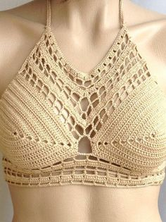 ₩₩₩ Crochet Bikini Halter Bikini Women Swimwear Crop by senoAccessory