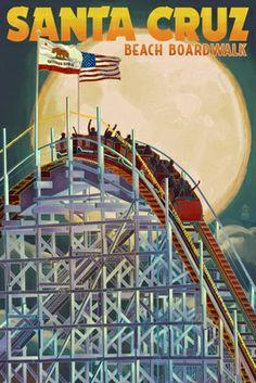 Santa Cruz, California - Big Dipper Coaster & Moon - Lantern Press Artwork (Art Print Available) Santa Cruz California, Vintage California, California Travel, California Art, Santa Cruz Boardwalk, Beach Boardwalk, Boardwalk Theme, Santa Cruz Beach, Big Dipper