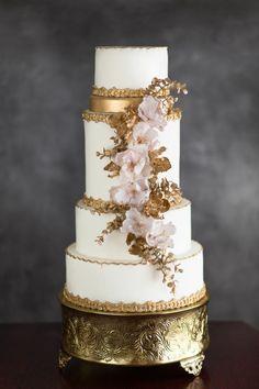 gold and white wedding cake {Annie Garofano Photographe}