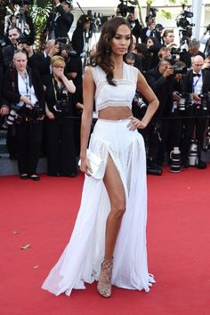 "Joan Smalls wears a revealing white two-piece at the premiere of ""Youth"""
