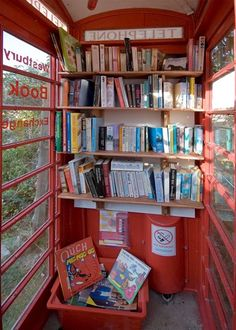 Great Britain, this phone booth in the  town of Westbury, Wiltshire, developed a diminutive library in one of the old telephone booths.
