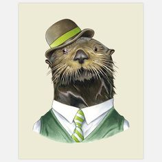 The multi-talented otter in this Berkley Illustration print is not only an excellent sea vessel pilot, but also quite a showman. His oceanic harbor tour operation features song, dance and a grand finale involving the ferry equivalent of a wheelie.