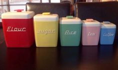 1950'S Vintage Nally Ware Set Of Harlequin Kitchen Canisters