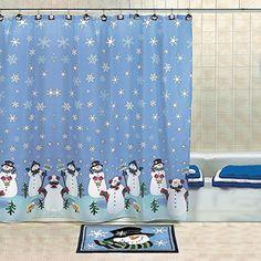 Snowman Christmas Holiday Winter Fabric Shower Curtain