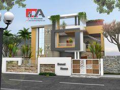 Home Art Studio Colour 17 Super Ideas House Wall Design, Front Wall Design, Modern House Design, Front Elevation Designs, House Elevation, Modern House Plans, Duplex House Plans, Small Apartment Layout, Compound Wall Design