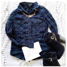 """Green & Dark Blue Plaid Top This plaid button down is fitted & perfect for layering with cute metal stud detailing a on the pockets on the front.. {actual color of item may vary slightly from photos}  •shoulders:19"""" •chest:18.5"""" •waist:16.5""""w •length:21"""" •sleeve:23""""  Material:99% cotton 1% spandex  ️️hand wash  Fit:like a sml  Condition:no rips no stains missing metal stud  ❌no holds ❌no trades ♥️️bundles of 3/more items get 20% off Forever 21 Tops Button Down Shirts"""