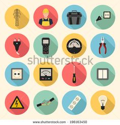 electricity flat style icons set. template elements for web and mobile applications - stock vector