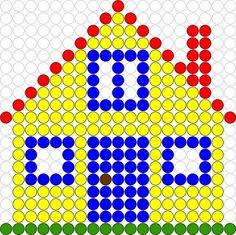 Ook de andere hoeken worden bij het thema aangepast. Een voorbeeldkaart van een huis  voor het gebruik van de kralenplank. Pearler Bead Patterns, Perler Patterns, Card Patterns, Beading Patterns, Diy For Kids, Crafts For Kids, Diy And Crafts, Arts And Crafts, Crochet Quilt