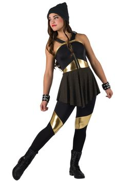 Style# 17319 UNSTOPPABLE Black spandex unitard with gold metallic spandex inserts and attached gold studded black spandex skirt. Metallic spandex binding and zipper trim. Headpiece and wrist cuffs included. SC-XXLA