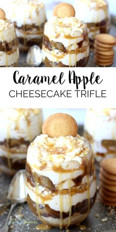 This no-bake Caramel Apple Cheesecake Trifle is THE best dessert recipe! It'… This no-bake Caramel Apple Cheesecake Trifle is THE best dessert recipe! It's easy to assemble and the layers taste rich and delicious. Oreo Dessert, Oreo Trifle, Coconut Dessert, Cheesecake Trifle, Tiramisu Dessert, Caramel Apple Cheesecake, Dessert In A Jar, Trifle Recipe, Cheesecake Recipes