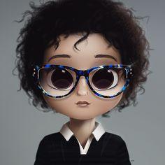 Cartoon, Portrait, Digital Art, Digital Drawing, Digital Painting, Character Design, Drawing, Big Eyes, Cute, Illustration, Art, Girl, Doll, Hair, Black, Afro, Glasses
