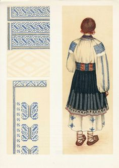 Neamt, Moldavia Folk Embroidery, Embroidery Patterns, Stitch Patterns, Folk Costume, Costumes, Fashion History, Traditional Dresses, Needle Felting, Folk Art