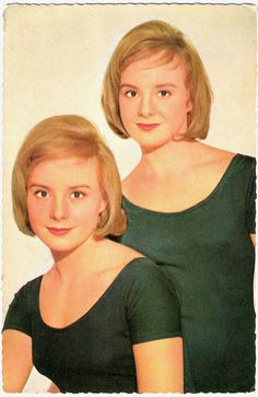 Blond twins Pili and Mili Bayona 1947 were a popular comedy duo in the Spanish cinema as Pili y Mili