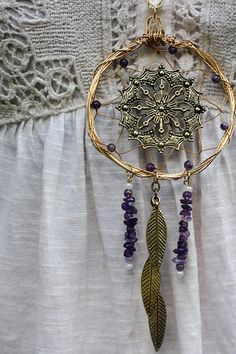 Large Gold Wire Wrapped & Amethyst Dream Catcher Necklace on Etsy, $39.61 AUD