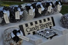 Indulge guests at your 50th birthday party with a delicious candy buffet.  See more 50th birthday favors and party ideas at www.one-stop-party-ideas.com