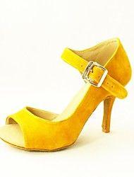 Aanpasbaar - Voor dames - Dance Schoenen ( Zwart/Geel ) - met Aangepaste  hak - en Latijn/Salsa
