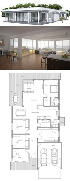 Narrow House in Modern Contemporary Architecture. Floor Plan from ConceptHome.com