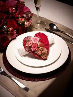 Pretty table setting ideal for weddings, Valentine's Day and other romantic ocassions