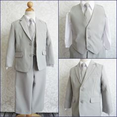 LTF LIGHT GREY/SILVER BOY WEDDING RING BEARER PARTY FORMAL DRESS SUIT ALL SIZES #Suit