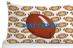 Football Pillow Case Pillow Cover Kids Bedroom by Personalized Pillow Cases, Custom Pillow Cases, Kids Bedroom, Bedroom Decor, Pillow Covers, Birthday Gifts, Football, Pillows, Handmade Gifts