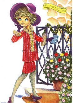 Vintage Embroidered Postcard of a Big Eyed Girl, via Flickr.