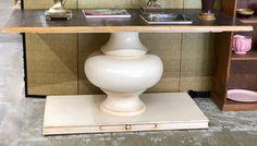 "Large Pedestal Table   66"" Wide x 29"" Deep x 31.5"" High   $275  Booth #282  Lula B's  1010 N. Riverfront Blvd. Dallas, TX 75207"