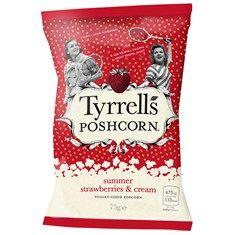 Tyrells Strawberries and Cream Poshcorn. Tasty strawberry flavoured popcorn to snack on. Flavored Popcorn, Strawberries And Cream, Dobby, Drink Sleeves, Strawberry, Tasty, Snacks, Appetizers, Strawberry Fruit