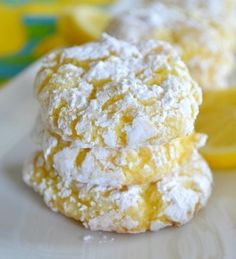 Lemon Crinkle Cookies - Soft and light lemon cookies using only four ingredients.