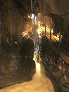 Hiking trail inside the moutain....Lauterbrunnen in Jungfrau region, Switzerland