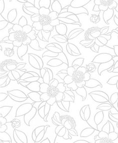 Carly Retro Floral Wallpaper features stylized flowers in grey on white background--perfect for contemporary or retro spaces.