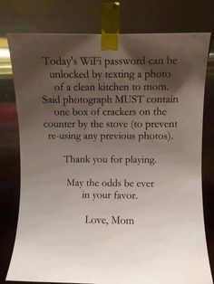 socialfeed-so-you-want-that-wifi-password-well-mama-has-got-other-ideas.jpg (540×720) Parenting Articles, Good Parenting, Parenting Hacks, Stay At Home Mom, Work From Home Moms, Home Management, Spelling, Billboard, Funny Signs