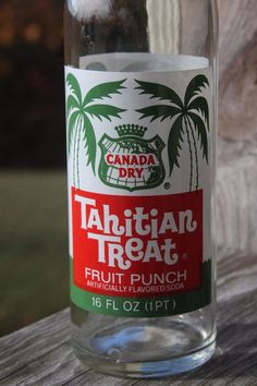 Vintage Tahitian Treat 3 Color ACL Soda Bottle by Canada Dry