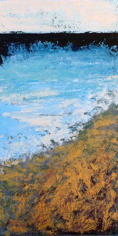 """Water's Edge"" Jennifer Wilson, 12""x24"". Abstract landscape. Acrylic on canvas. 2016"