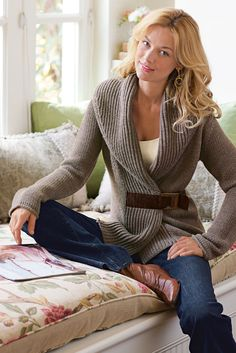 Country Weekend Sweater - Rustic appeal with a waist trimming shape   Soft Surroundings
