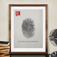 "Title : ORIGINALITY Article #: 01018 ""Be yourself; everyone else is already taken."" - Oscar Wilde This original print was inspired by Oscar Wilde's famous quote. A single one of a kind finger print re"