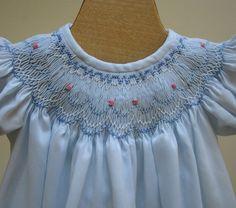Hand Smocked Bishop Dress Newborn - 3 months, 6 months, 12 months. $50.00, via Etsy.